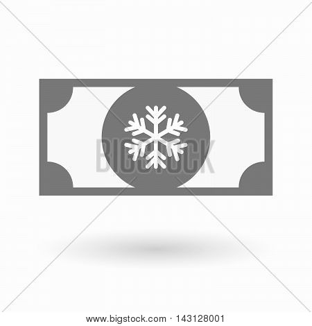 Isolated Bank Note Icon With A Snow Flake