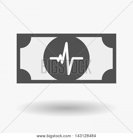 Isolated Bank Note Icon With A Heart Beat Sign
