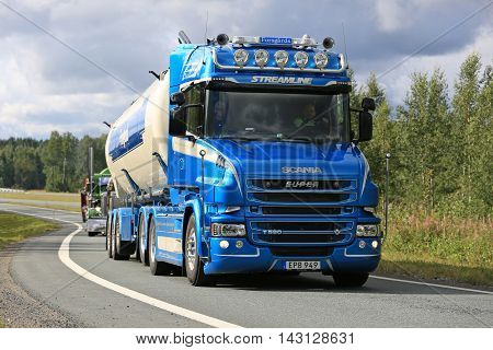 LEMPAALA, FINLAND - AUGUST 11, 2016: Scania T580 semi tank truck year 2015 of Ab Bengt Forsgards Akeri takes part in the truck convoy to the annual trucking event Power Truck Show 2016 in Alaharma Finland.