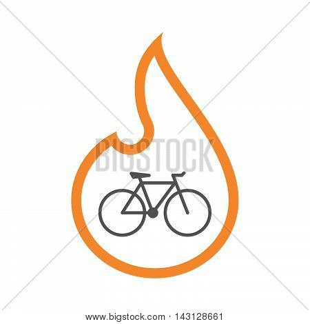 Isolated Isolated Line Art Flame Icon With A Bicycle
