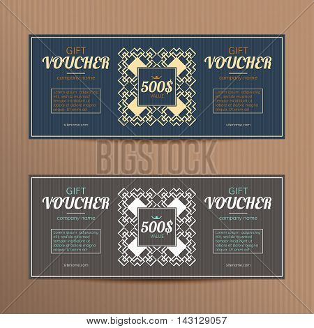 Gift vouchers with elegant design. Vector templates for coupon or discount card. Vector vouchers in luxury style.