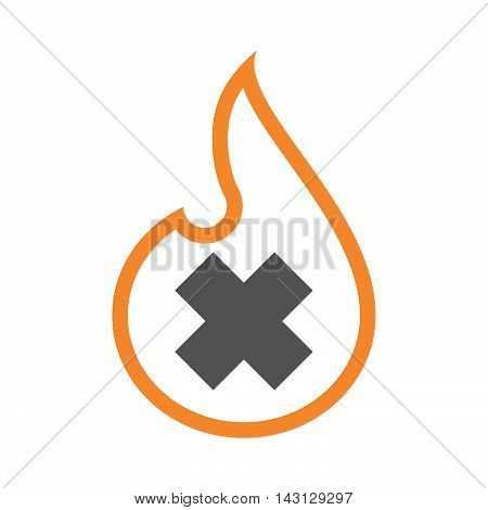 Isolated Isolated Line Art Flame Icon With An Irritating Substance Sign