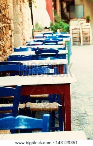 Blue street coffee shop in Crete impressions of Greece