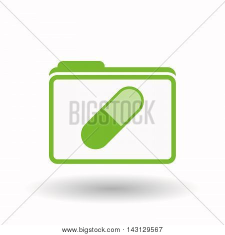 Isolated  Line Art  Folder Icon With A Pill