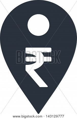 Rupee Map Marker icon. Vector style is flat iconic symbol with rounded angles, smooth blue color, white background.
