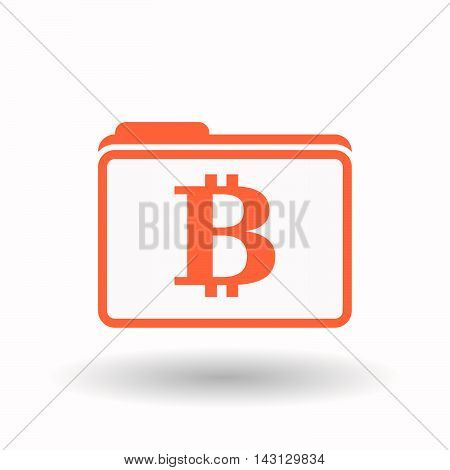 Isolated  Line Art  Folder Icon With A Bit Coin Sign