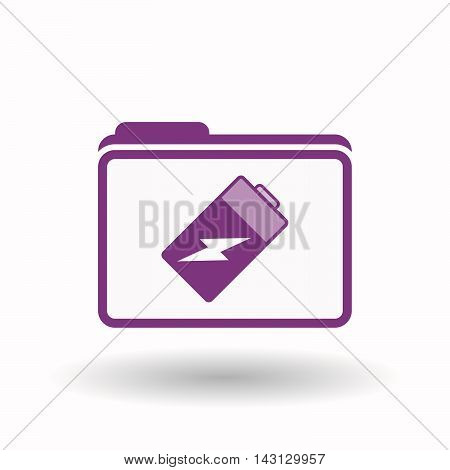 Isolated  Line Art  Folder Icon With A Battery
