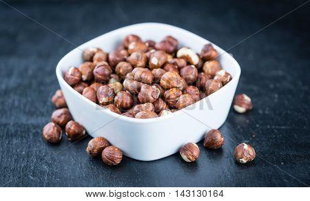 Hazelnuts On A Slate Slab