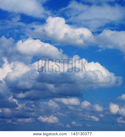 blue sky background with white clouds , summer day