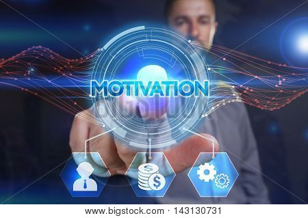 Business, Technology, Internet And Network Concept. Young Businessman, Select On The Virtual Display