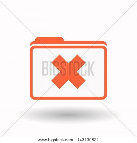 Isolated  Line Art  Folder Icon With An X Sign