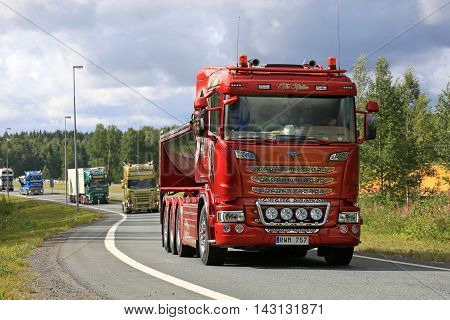 LEMPAALA, FINLAND - AUGUST 11, 2016: Interchangeable Scania R560 truck year 2014 The Stallion of T. Gahnes Akeri Ab takes part in the truck convoy to the annual trucking event Power Truck Show 2016 in Alaharma Finland.