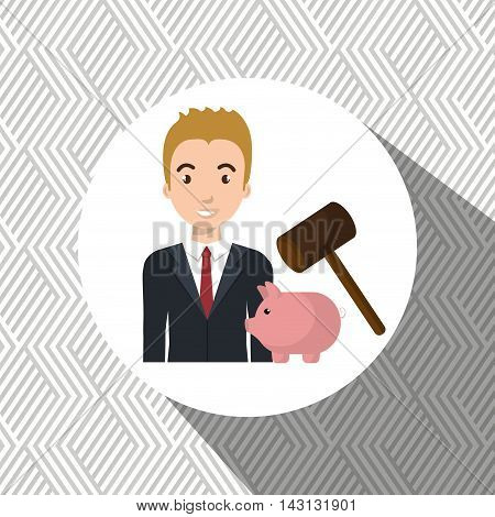 man piggy saving money vector illustration graphic