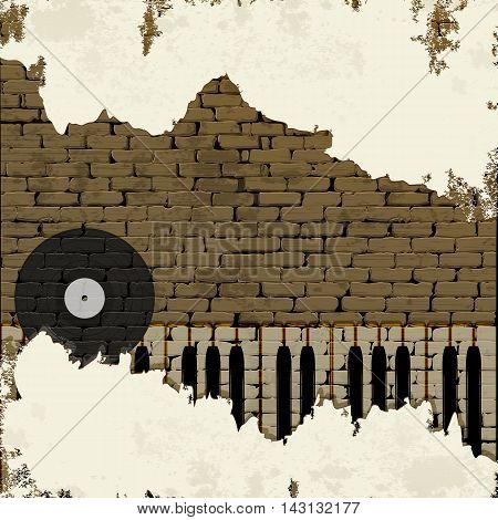 Free music background piano keys brick wall vinyl with plaster and cracks.