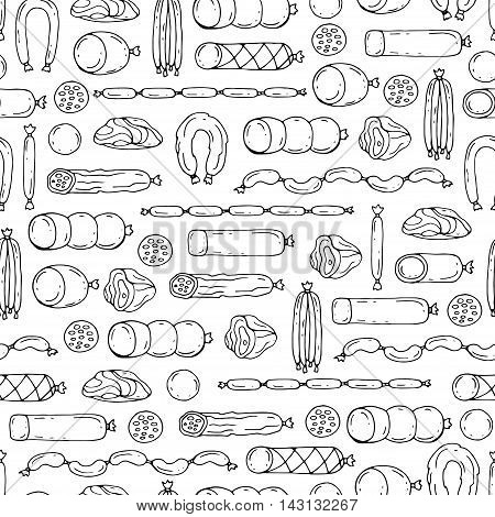 Vector seamless pattern with hand drawn isolated sausage products on white color. Pattern on the theme of food. Background for use in design, packing, web site, fabrics