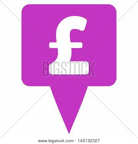 Pound Map Pointer icon. Vector style is flat iconic symbol with rounded angles, violet color, white background.