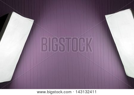 Photographic LIghting - Two Studio Lights with Soft Boxes on Tripods with purple background