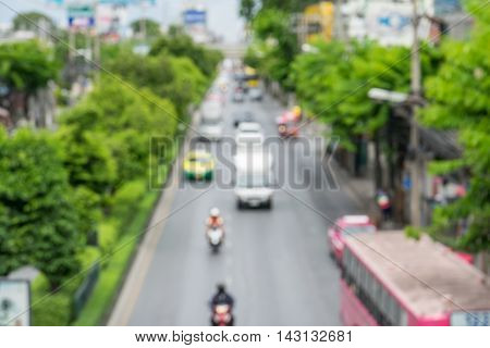 Blurred of traffic jam in rush hour time on city streets.