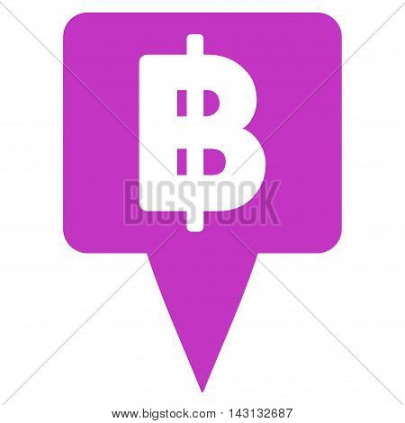 Thai Baht Map Pointer icon. Vector style is flat iconic symbol with rounded angles, violet color, white background.