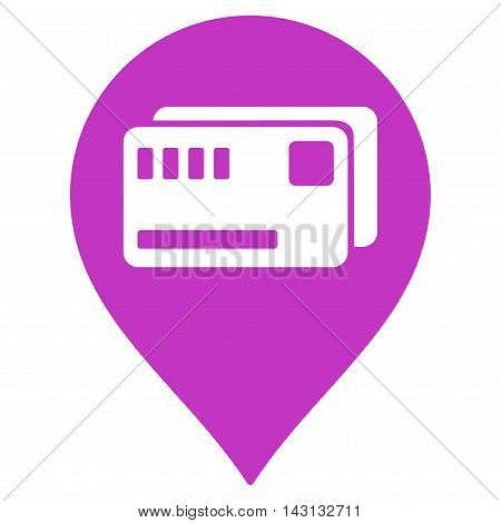 Tickets Map Marker icon. Vector style is flat iconic symbol with rounded angles, violet color, white background.