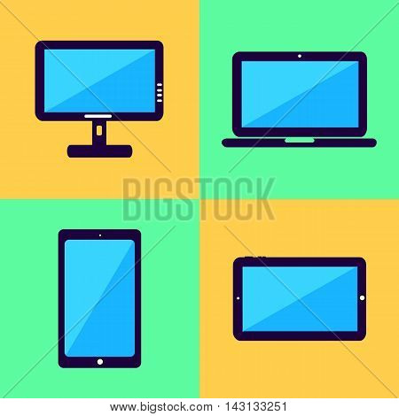 Electronic Device Flat Design Illustrations, computer, laptop, tablet phone design