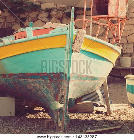 Old boat abstract vintage background - impressions of Greece
