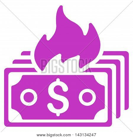 Burn Banknotes icon. Vector style is flat iconic symbol with rounded angles, violet color, white background.