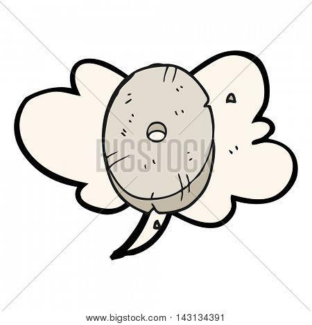 freehand drawn speech bubble cartoon stone number zero