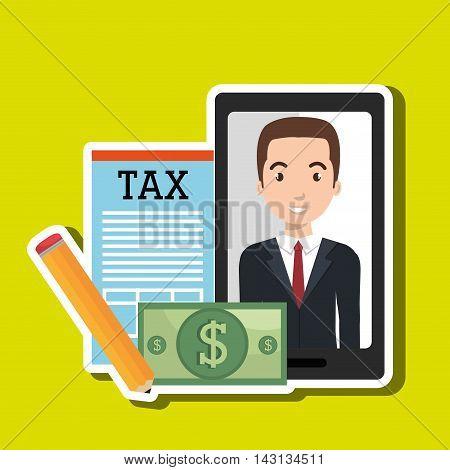 man smartphone tax dollar vector illustration eps 10