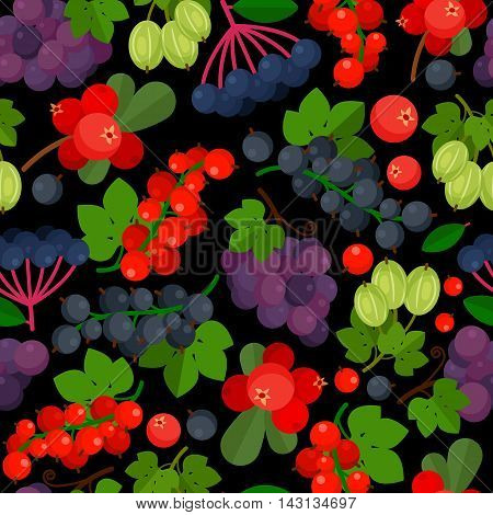Seamless pattern with red currant, black currants, lingonberry and grapes on black background