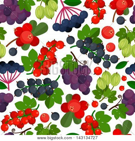 Seamless pattern with red currant, black currants, lingonberry and grapes on white background