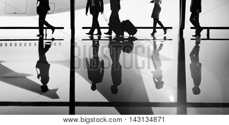 Business People Traveling Airport Terminal Walking Concept