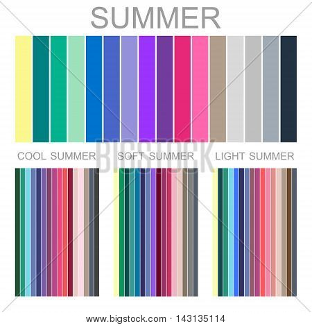 Stock vector seasonal color analysis palette for summer type of female appearance. Set of palettes for cool, soft and light summer