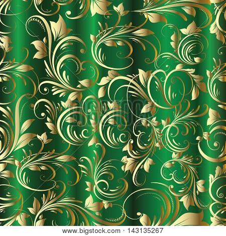 Bright green emerald vector elegance vintage seamless pattern background with golden vintage art line ornaments. Modern,stylish,rich design, expensive jewelry.For use in textile , print, fabric, wrapper.Luxury illustration and royal 3d drapery decor eleme