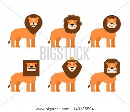 Set with different figures of lions with manes