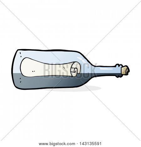 cartoon message in a bottle