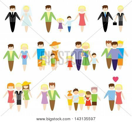 Business concept flat icons set of family, health, married, career and vacation infographic design elements vector illustration
