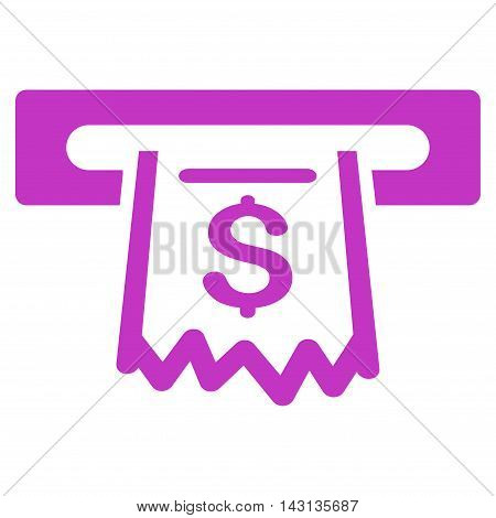 Paper Receipt Terminal icon. Vector style is flat iconic symbol with rounded angles, violet color, white background.