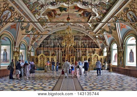 Sergiev Posad, Russia - may 28, 2016: the Main altar with icons and painted walls in the Cathedral of the Holy Trinity St. Sergius Lavra. Sergiyev Posad is included into the Golden ring of Russia and is a pilgrimage center of the Christian world.