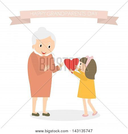 Granddaughter gives heart to grandmother. Happy grandparents day greeting background. Vector Illustration