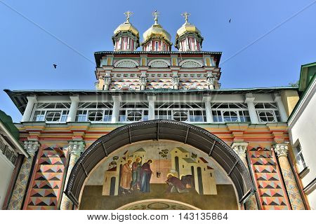Sergiev Posad, Russia - may 28, 2016: Old icon over the main entrance to the Cathedral of the Holy Trinity-St. Sergius Lavra. Sergiyev Posad is included into the Golden ring of Russia and is a pilgrimage center of the Christian world.