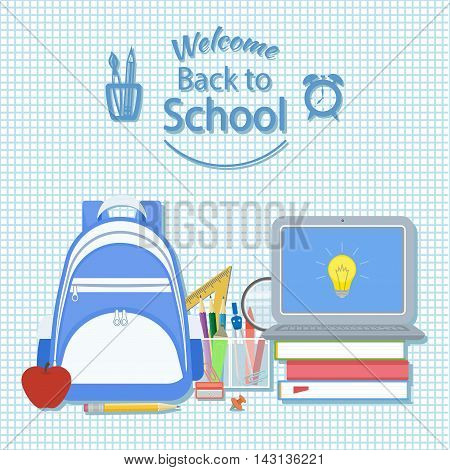 Welcome back to school. Creativity and science concept background. Knapsack, books, apple, pencil, dividers, marker, open laptop with icon idea. School supplie. Vector on checkered background.
