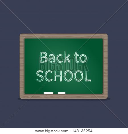 Green school board with chalk. Back to school. Schooling concept background. Vector illustration on a dark background.