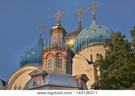 Gold and blue dome over the Cathedral of the Trinity-Sergius Lavra. The Shrine of all Christians. The center of pilgrimage of the Christian world. Sergiyev Posad is included into the Golden ring of Russia.