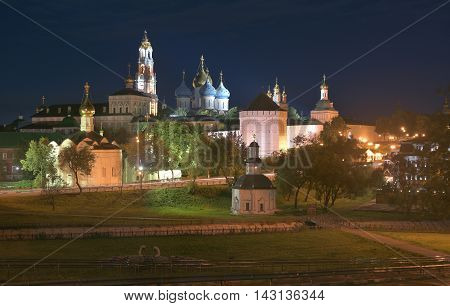 Sergiev Posad Russia - August 29 2015: Night panorama of the Cathedral of the Holy Trinity St. Sergius Lavra. The Shrine of all Christians. The center of pilgrimage of the Christian world. Sergiyev Posad is included into the Golden ring of Russia.