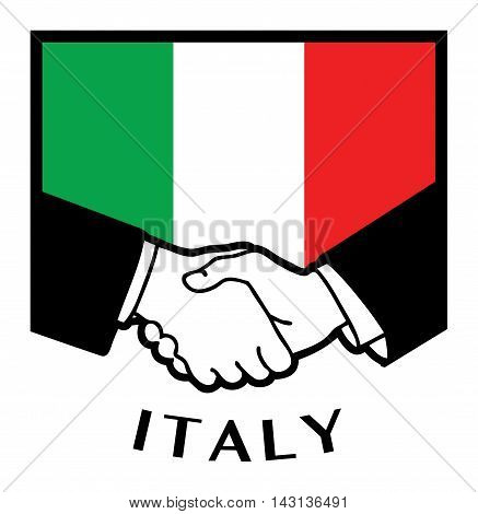Italy flag and business handshake, vector illustration