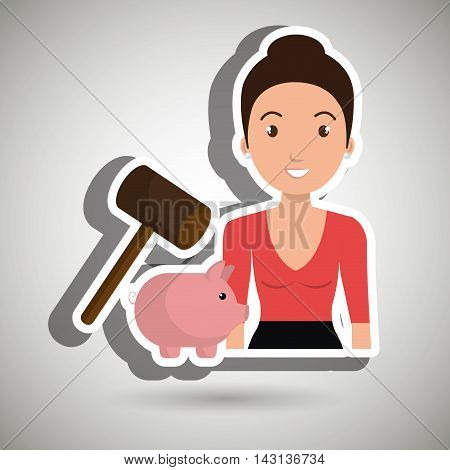 woman piggy saving money vector illustration graphic
