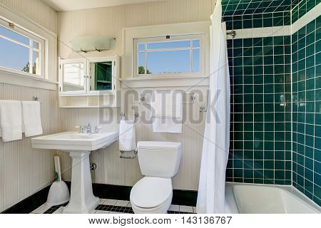 Bathroom With Wooden Panel Walls And Shower Bath Tub