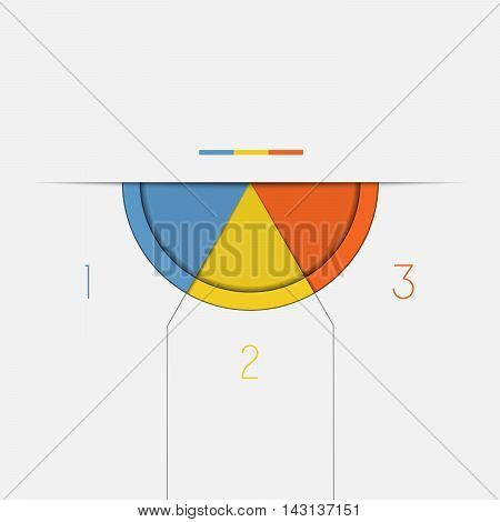 Color Semicircle downwards template for Infographic numbered on 3 positions.
