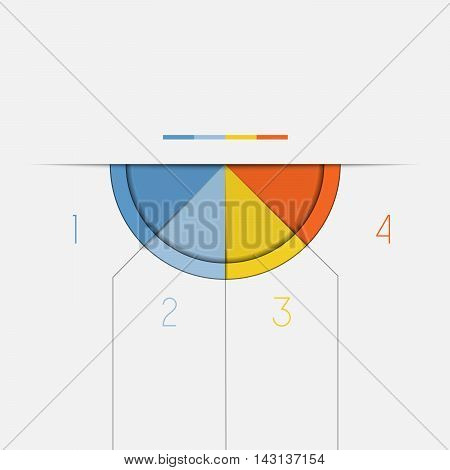 Color Semicircle downwards template for Infographic numbered on 4 positions.